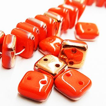Contemporary Glass Beads: Chexx 2 Holed Glass Beads - 6mm Coral Apollo Gold. Available on A Grain of Sand.