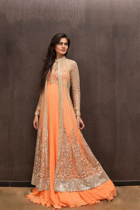 Lovely orange gown with long jacket  Soo pretty   Indian