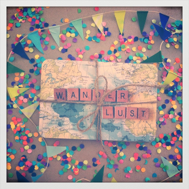 "Beautiful ""Wanderlust"" Postcard Set - Heavy Cardstock - Set of 7 Assorted Atlas/Scrabble Letter Designs."