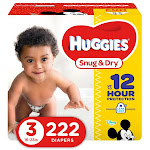 Huggies Snug & Dry Diapers, Size 3 - 222 count