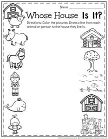 February Preschool Worksheets Whose House is it