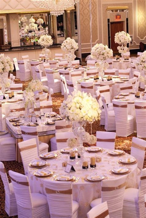 Reception Décor Photos   All White Chair Covers with Gold