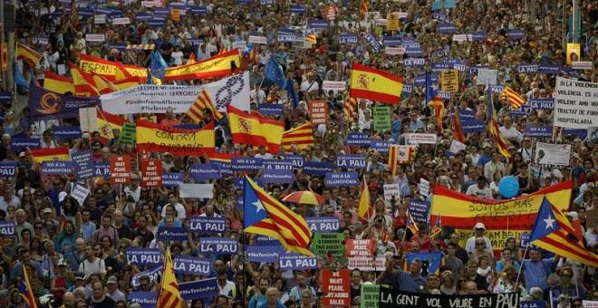 Manifestación contra los atentados yihadistas en Catalunya. EFE/Alberto Estévez