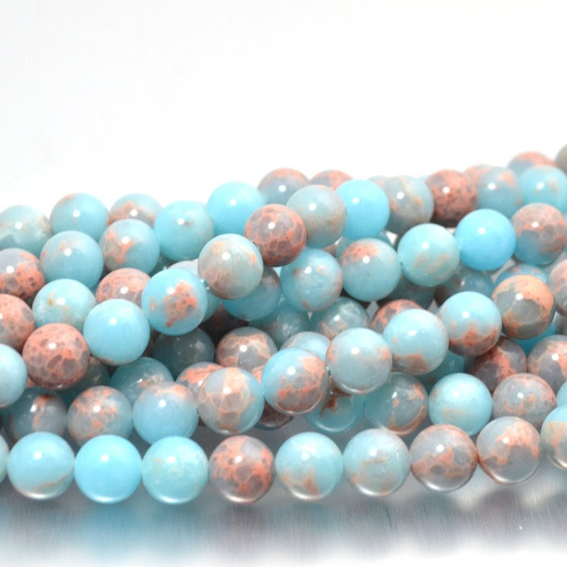 s48747 Stone Beads - 8 mm Round - Powder Blue Impression Jasper (strand)