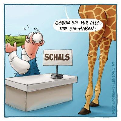 Giraffe langer Hals Schal Winter groß einkaufen Laden Geschäft Klamotten kalt  Cartoon Cartoons Witze witzig witzige lustige Bildwitze Bilderwitze Comic Zeichnungen lustig Karikatur Karikaturen Illustrationen Michael Mantel lachhaft Spaß Humor