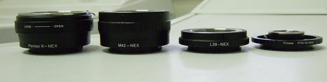 Sony NEX 5N with Pentax Auto 110 24mm f/2.8; Pentax auto 110 to NEX adapter thinnest