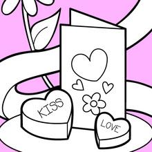 Dibujos Para Colorear Tarjeta De San Valentín Y Chocolates Es