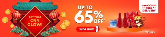 CNY Glow: Save more with up to 65% off + Unlimited FREE Delivery at Air Asia Shopping.