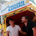 Will Arnett, left, and Jason Bateman in Times Square in a replica of the