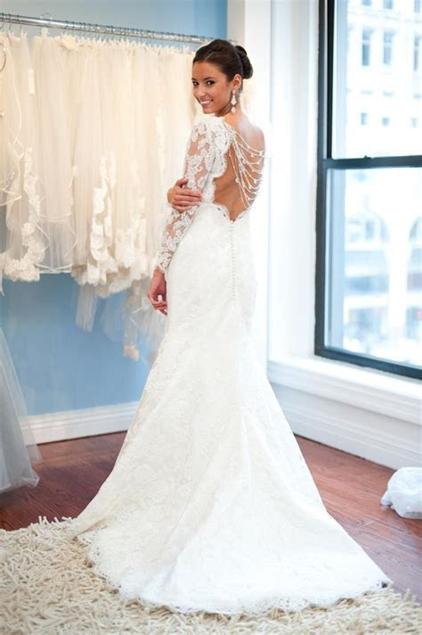White French Lace Open Back Wedding Gown With Back Buttons