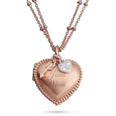 Personalized Rose Gold Heart Locket!