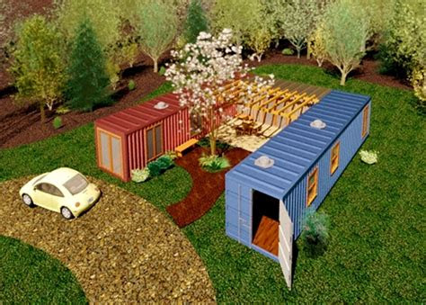 simple design    container home   courtyard