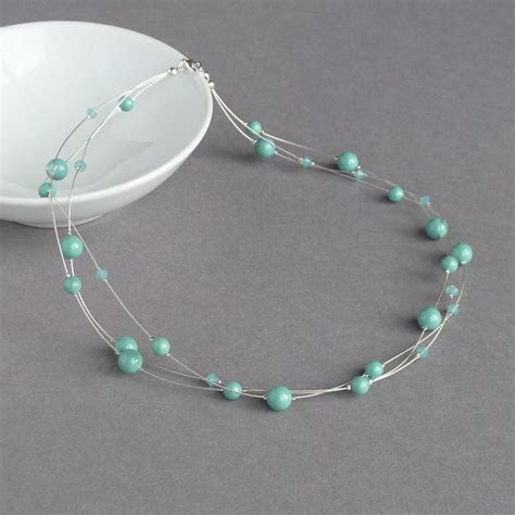 Mint Green Floating Pearl Jewellery Set   Anna King Jewellery