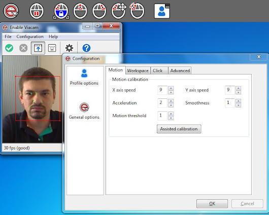 Enable Viacam. Rato emulation vía webcam.
