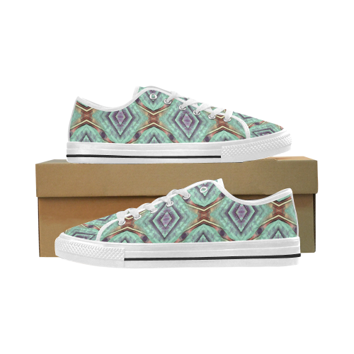Abstract geometrical seamless wall-paper, turquois Seattle Low Top Men's Shoes/Large Size (Model 10136)