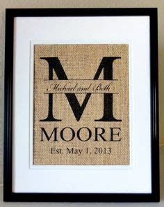 Personalized Burlap MONOGRAM Last Name and Est Date by