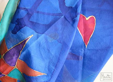 silk scarf :: fra liv - silkeskjerf med hjerter og stjerner