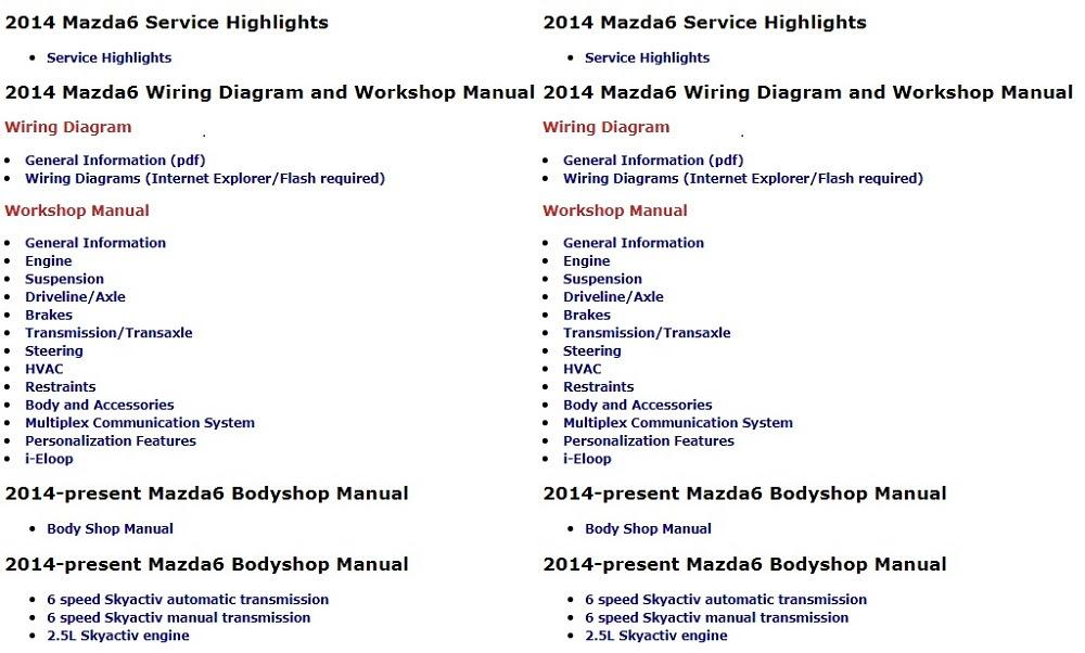 2009 Mazda 6 Service Manual