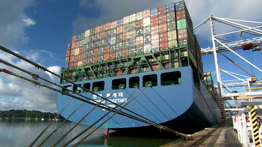 Onboard huge container ship