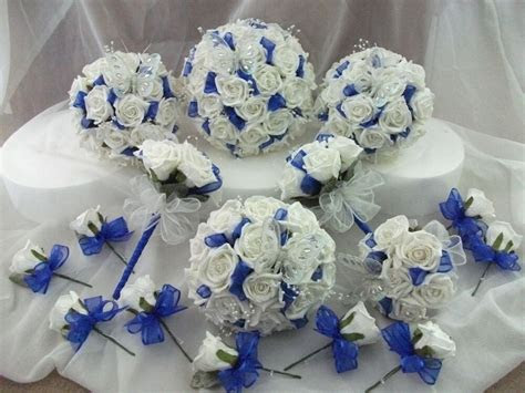 royal blue  white wedding bouquet flowers package ebay