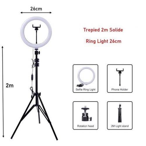 Ring Light 26cm de Diametre + Trépied 2m Solide