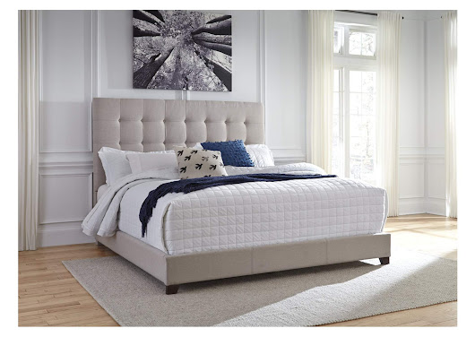 Beige King Upholstered Bed