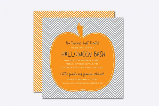 Chevron Pumpkin Halloween Card Template | Design Share