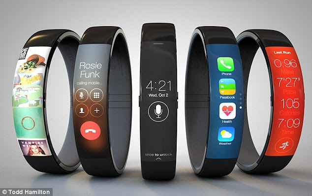 The concept watch, pictured, is shown as a simple band, fitted round the wrist in a similar way to the Nike Fuelband. The concept comes with a curved touchscreen above a physical home button. Volume controls are shown on the right side of the screen