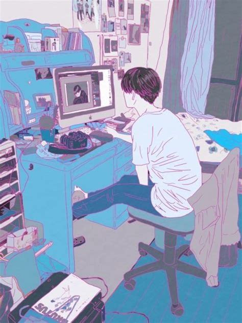 anime boy   computer anime room artillustration