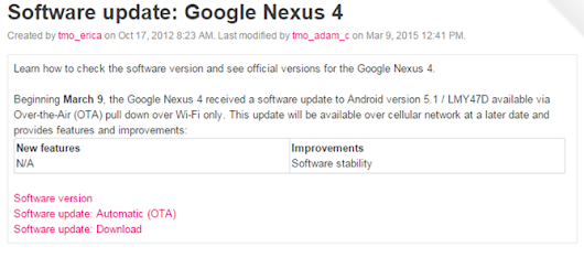[Android 5.1 Watch] T-Mobile Posts Android 5.1 Update Documents For Nexus 4, 5, And 7: Build LMY47D, Rollout May Begin Today