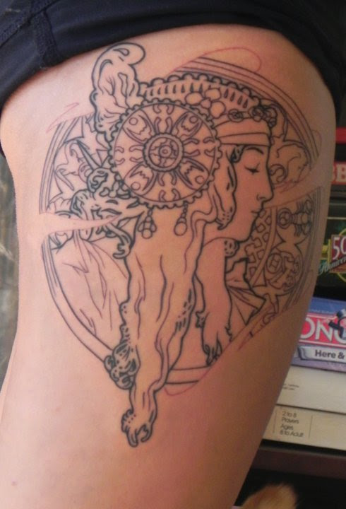 fuckyeahtattoos: This is my Alphonse Mucha inspired tattoo.