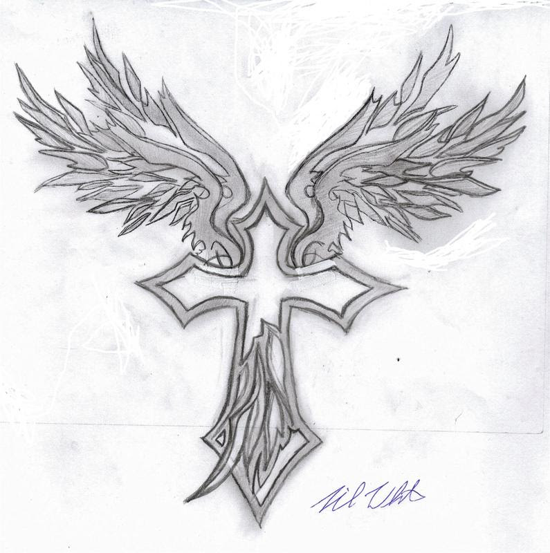 Attractive Grey Ink Winged Cross Tattoo Design