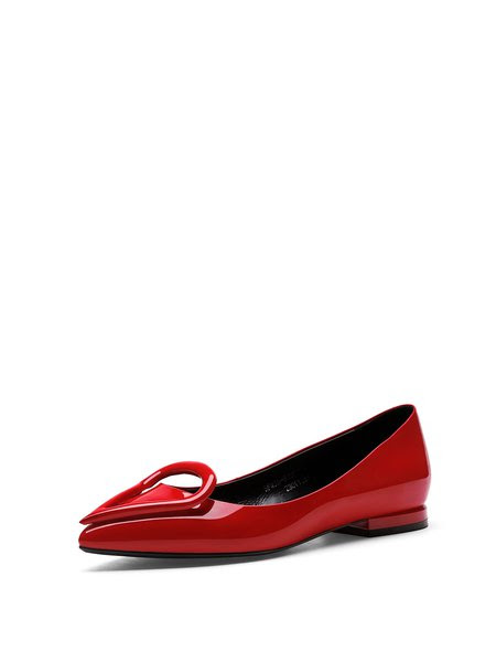 Red Casual Flat Heel Pointed Toe Flats
