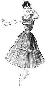 """Modelo de vestido de popeline para festas, publicado em 18 de novembro de 1956, na """"Folha da Manhã"""""""