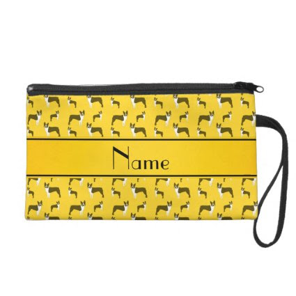 Personalized name yellow boston terrier wristlet