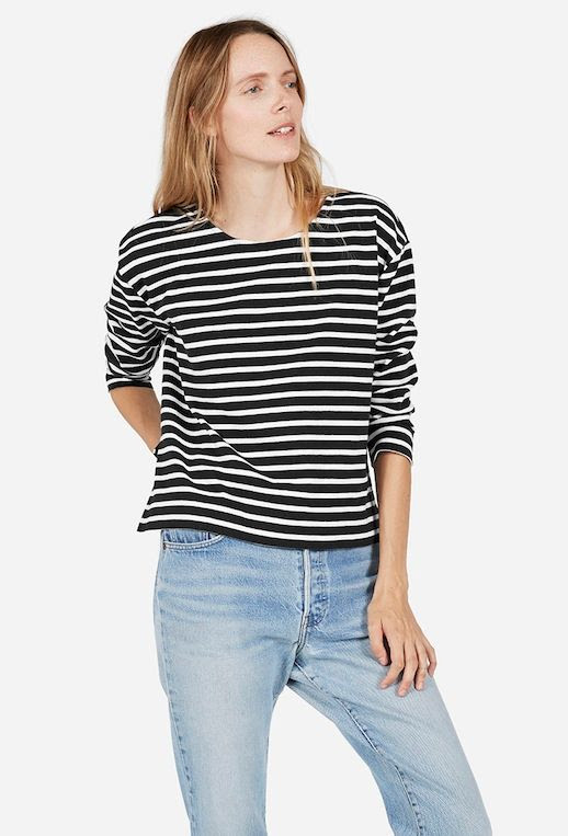 Le Fashion Blog Boxy Black And White Striped Long Sleeve Tee Light Wash Vintage Levis Denim Via Everlane