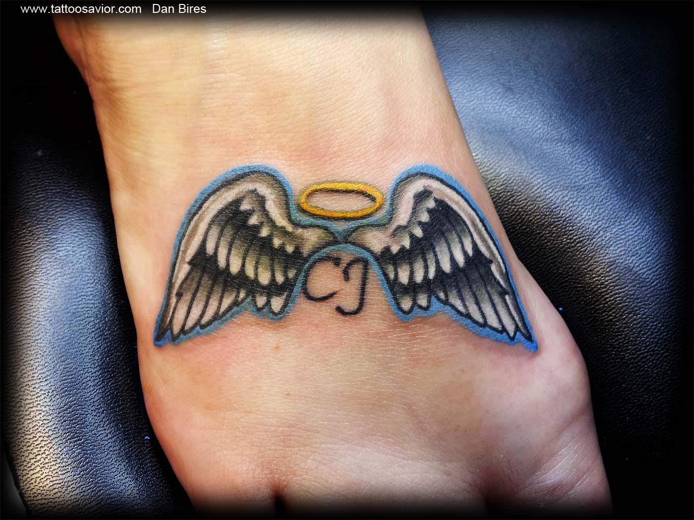 Angel Wings With Halo And Name Tattoo Marcpous