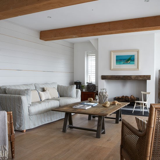 Coastal living room with white wood panelling | West Sussex country house | House tour | PHOTO GALLERY | Country Homes and Interiors | Housetohome.co.uk