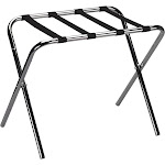 Household Essentials Luggage Rack, Chrome Frame with Black Straps