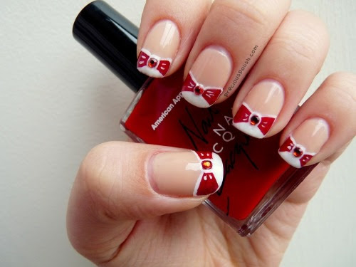 """a holiday spin on a classic french manicure: joyeux noël! ✪ """"All Wrapped Up"""" on preciouspolish.com"""