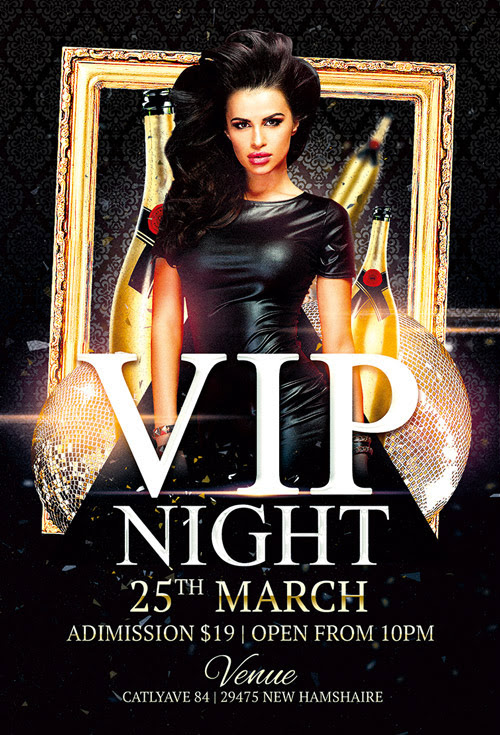 Vip Night Club Flyer Template for Photoshop | Awesomeflyer.com