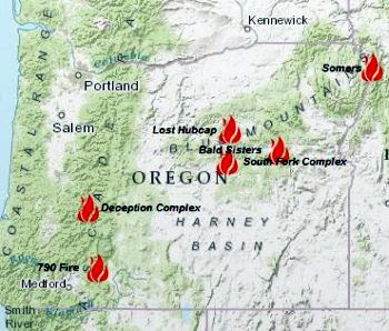 Forest Fires Oregon Map Forest Fires In Oregon Map | Time Zone Map