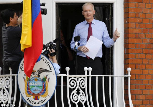 Safe haven: Wikileaks founder Julian Assange has taken refuge in the Ecuadorian embassy in London to avoid arrest and extradition to Sweden over rape allegations