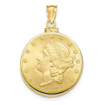 14kt Yellow Gold Polished Screw Top Bezel for Ten Dollar US Coin