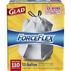 Glad ForceFlex Drawstring Tall Kitchen Trash Bags, Unscented, 13 Gallon, 110 Count