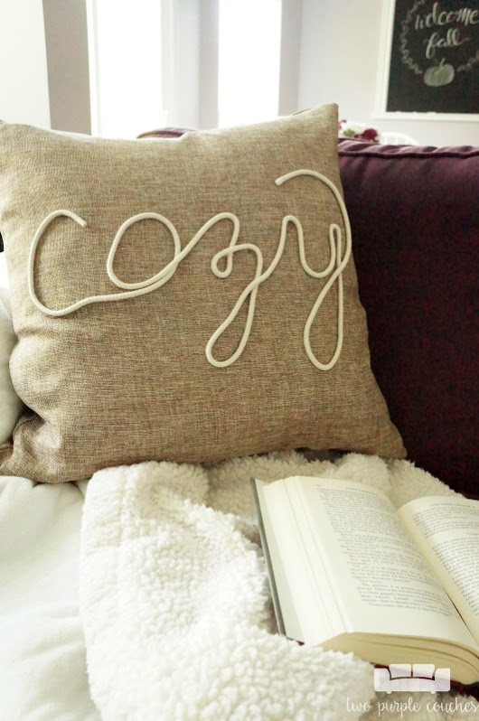 Cozy DIY Fall Pillow - two purple couches