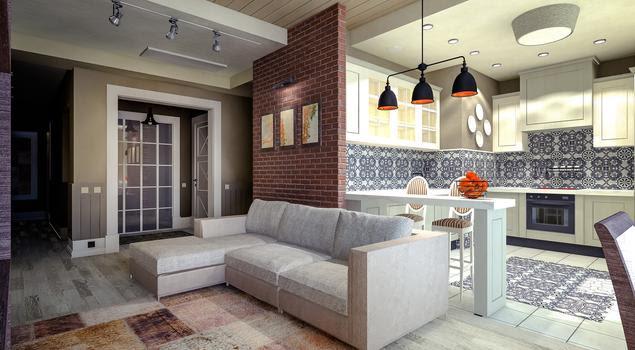 Nowoczesny Salon Z Kuchnią Eklektyczne Wnętrze
