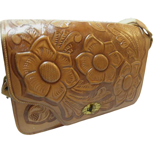 Saddle Tan Tool Leather Vintage Cowgirl Gypsy Boho Purse Shoulder Bag flowers and leaves 1960's from Newprairiestore at Ruby Lane