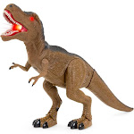Best Choice Products 21in Kids Walking Tyrannosaurus Rex Dinosaur Toy w/ Light-Up Eyes, Sounds - Brown