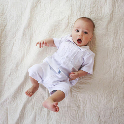 Baby Boy Romper Baptism Outfit Handmade Infant Bodysuit White Cotton Clothes  eBay